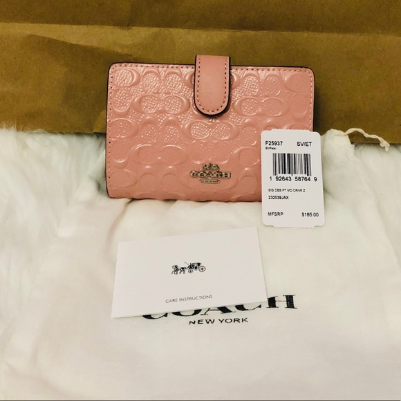 😍Brand New Coach pink leather embossed wallet be7475e55d91c